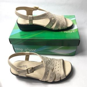 "Easy Street ""Roxanne"" Gold Wedge Sandals"